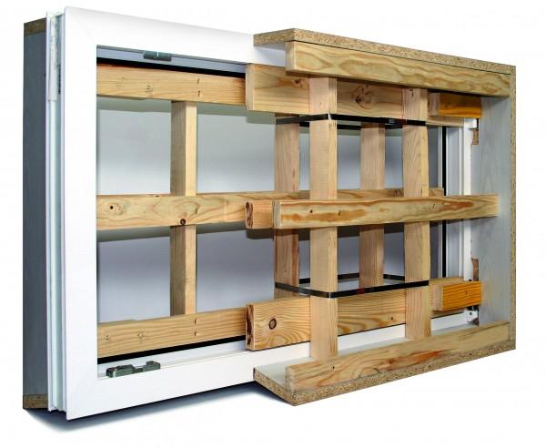 Kunststoff-Kellerfenster in Holzschalung TYPE DKI